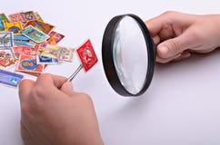 现有量老集邮家印花税 库存照片