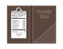 现金、硬币和出纳员支票的皮革文件夹 库存例证