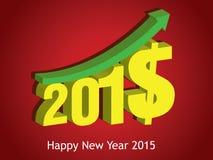 现金上涨2015年 新年好2015年 库存照片