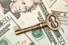 现金关键概要 免版税库存照片
