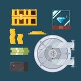 现金和可贵的保险柜平的设计  免版税图库摄影