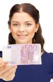 现金欧洲可爱的货币妇女 库存图片