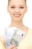 现金欧洲可爱的货币妇女 图库摄影