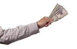 现金现有量查出的白色 免版税库存照片