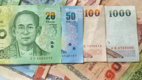 现金的20,50,100,1000泰国钞票 库存照片