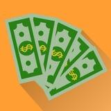 现金,绿色美元在橙色背景隔绝的象 库存图片