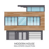 现代三层房子,房地产签到平的样式 也corel凹道例证向量 图库摄影