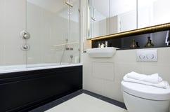 现代三件一套en随员bathroomin灰棕色 免版税库存照片