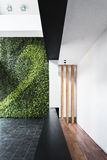 现代与垂直的庭院的建筑学最小的样式内部 库存照片