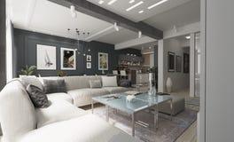 现代与灰色墙壁的客厅室内设计 免版税库存照片