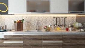 现代与白色陶瓷墙壁的厨房室内设计 免版税库存图片