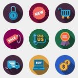 现代与阴影的圈子五颜六色的商店象 免版税库存照片