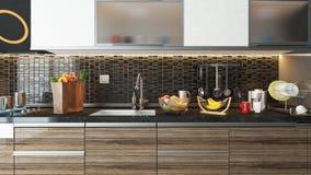 现代与黑陶瓷墙壁的厨房室内设计 图库摄影