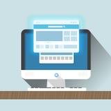 现代个人计算机有浏览器的 免版税库存照片