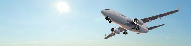 现代乘客飞机飞行全景 免版税库存图片