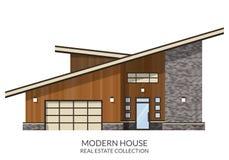 现代乡间别墅,房地产签到平的样式 免版税库存照片