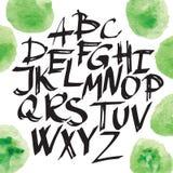 现代书法刷子字法 传染媒介与独特的印刷术的卡片或海报设计 手书面书法字母表 免版税库存照片