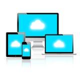 现代云彩计算的连接数的设备 库存图片