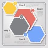 现代五颜六色的六角形设计主页或infographic 向量例证