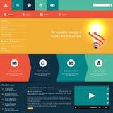 现代五颜六色的平的网站模板EPS 10传染媒介例证 免版税库存照片
