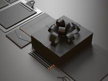现代企业元素特写镜头在黑色的 图库摄影