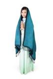 现代伊斯兰教的时尚,在白色背景的充分的身体 免版税图库摄影