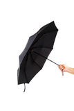 现代黑伞在手中 免版税库存照片