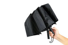 现代黑伞在手中 库存图片