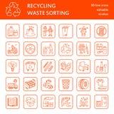 现代传染媒介线象废排序,回收 无用单元收集 废类型-纸,玻璃,塑料,金属 线性pictog 库存照片