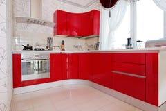 现代光滑的厨房内部内阁 库存图片