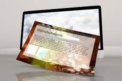 现代全部在有一个普通网站的一台计算机 免版税库存照片