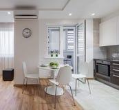 现代公寓内部在斯堪的纳维亚样式的与厨房 免版税库存图片