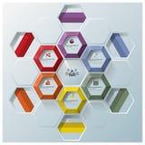 现代六角形几何形状事务Infographic 库存照片