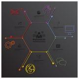 现代六角形几何线形事务Infographic 免版税库存照片