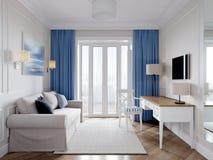 现代经典样式的明亮和舒适室 免版税图库摄影