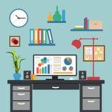 现代内部办公室工作区平的设计  免版税库存图片