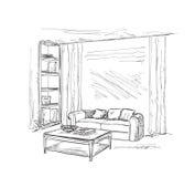 现代内部室剪影 手拉的家具 免版税图库摄影