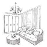 现代内部室剪影 手拉的家具 库存图片