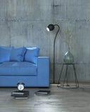 现代内部蓝色有沙发背景, 3D 免版税库存照片