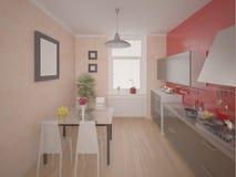 现代紧凑的厨房 图库摄影