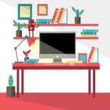 现代创造性的办公室的平的设计传染媒介例证 免版税库存照片