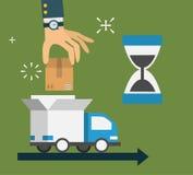 现代创造性的平的样式构思设计,送货业务,纸板箱,手在汽车投入小包 免版税库存照片