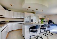 现代刷新的厨房内部 库存图片