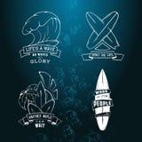 现代剪影套与字法的冲浪的例证商标象征 设计元素,商标 免版税库存照片
