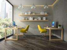 现代办公室内部有两个黄色扶手椅子3D翻译的 免版税图库摄影