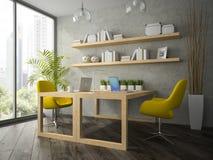 现代办公室内部有两个黄色扶手椅子3D翻译的 库存图片