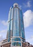 现代办公楼蓝色玻璃表面在上海市中心,中国 库存图片