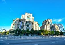 现代办公楼建筑学在布城,马来西亚 照片被采取了15/05/2017 库存照片