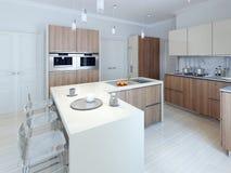 现代功能厨房设计 库存例证