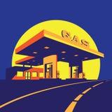 现代加油站在晚上 向量例证